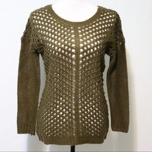 Poof Excellence army green open knit sweater small